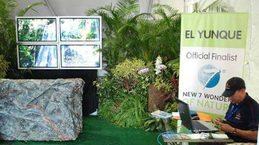 PGA Open voting booth promoting the Official New7Wonders of Nature Finalist Candidate El Yunque