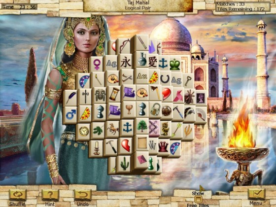 Play the New 7 Wonders of the World Mahjong Game
