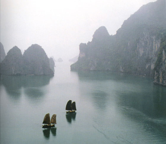 Halong Bay consists of more than 3,000 limestone islands rising spectacularly from the ocean