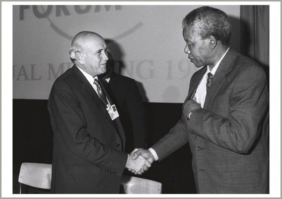 FW de Klerk and Nelson Mandela shaking hands