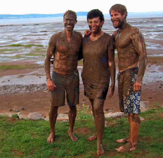 Brothers Jeff and Chris Eagar with Terri McCulloch at the Bay of Fundy