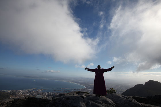 Archbishop Desmond Tutu on Table Mountain