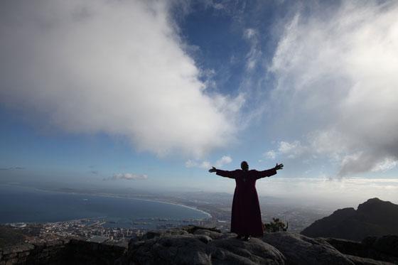Archbishop Desmond Tutu on Table Mountain