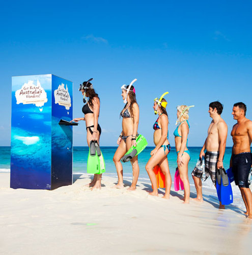 Voting for the New7Wonders of Nature at the world's most remote polling boot on the Great Barrier Reef