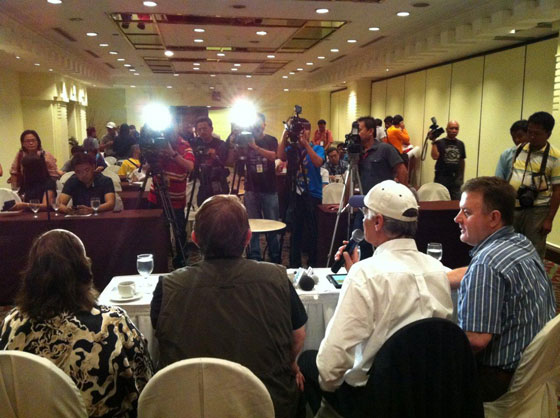 Meeting the press in the Philippines