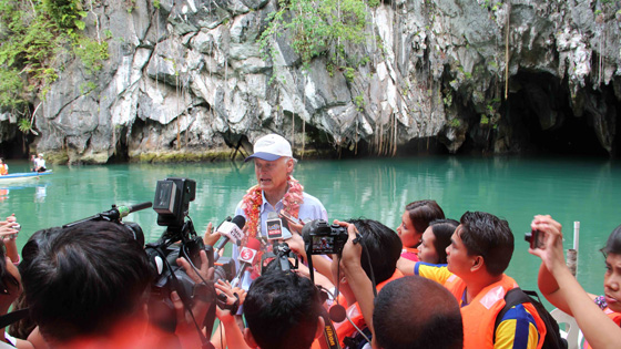Bernard Weber, Founder-President of New7Wonders, meets the media at the Puerto Princesa Underground River in Palawan Province, the Philippines.