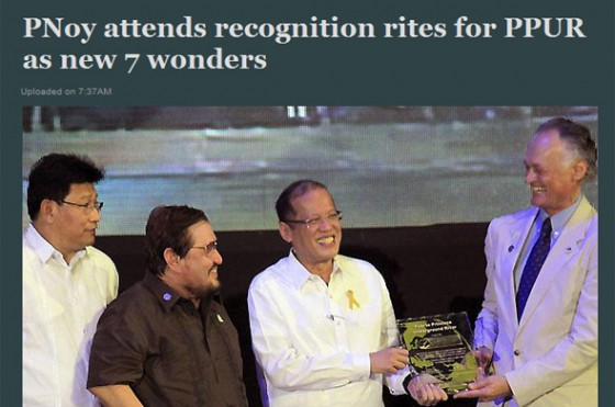 Philippines media coverage of the Official Inauguration of the Puerto Princesa Underground River as one of the world's New7Wonders of Nature was comprehensive.