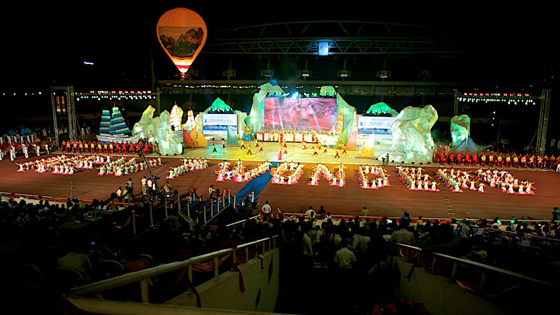 Scene from the Official Inauguration of Halong Bay as one of the New7Wonders of Nature in My Dinh National Stadium, Hanoi.