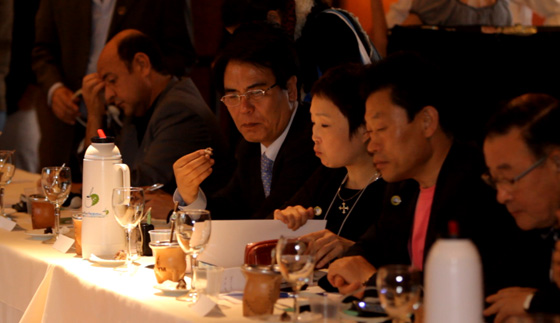 Delegates from Peru, South Korea and Vietnam contemplate the comprehensive agenda at the New7Wonders of Nature Congress.