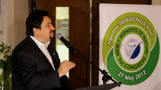 The Governor of Misiones Province, Argentina, Maurice Closs, addressing the New7Wonders of Nature Congress in Iguazu.