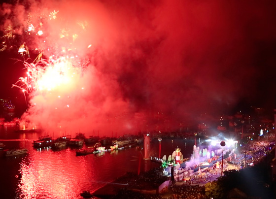 The commutative plaque listing Halong Bay as one of the New7Wonders of Nature is centre stage as fireworks fill night sky over Halong City, the capital of Quang Ninh province in Vietnam.