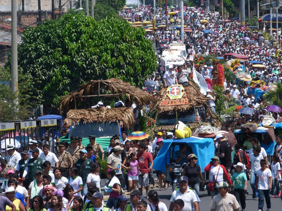 An estimated 80,000 people thronged the streets of Iquitos in the Peruvian rainforest as part of celebrations to mark the Official Inauguration of the Amazon as one of the New7Wonders of Nature.