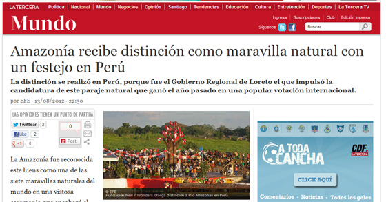 Amazonía recibe distinción como maravilla natural con un festejo en Perú (Amazon receives distinction as a natural wonder with a celebration in Peru)