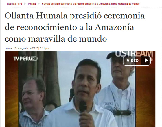 The President of Peru, Ollanta Humala, speaking at the Official Inauguration of the Amazon in Iquitos.
