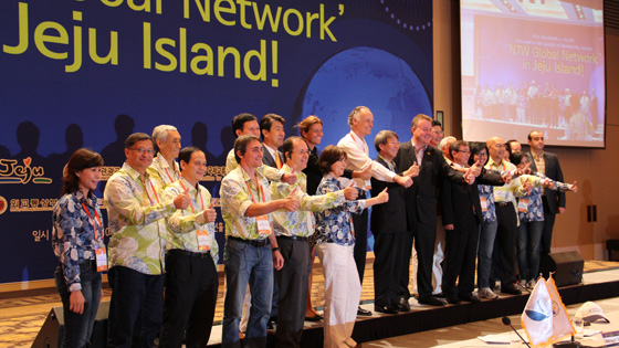 Bernard Weber, Founder-President of New7Wonders (centre), at the announcement of the New7Wonders Global Network in Jeju City, South Korea.