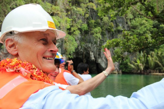Bernard Weber, Founder-President of New7Wonders, joins a group of guests preparing to enter the Puerto Princesa Underground River (PPUR).