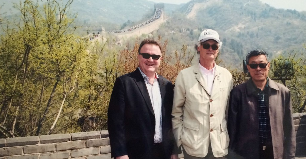 New7Wonders Founder Bernard Weber (centre), New7Wonders Director Jean-Paul de la Fuente (left) and the Chairman of the China Great Wall Society Dong Yaohui (right) at the Great Wall during the official visit.