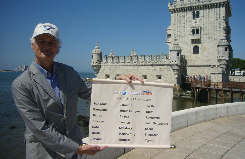 Bernard Weber, Founder-President of New7Wonders, revealing the 21 qualifying cities at the historic 500 year-old Torre de Belem in Lisbon, Portugal, the city where the first-ever New7Wonders campaign declaration event took place on 07/07/07, exactly 7 years ago today.