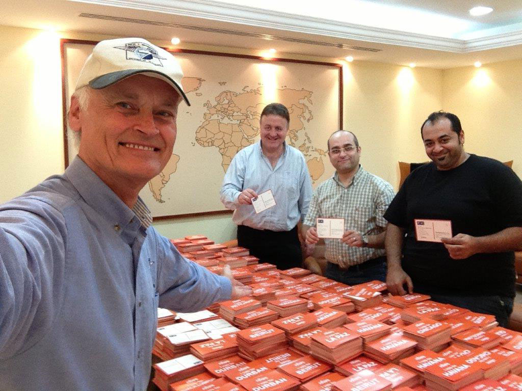 Bernard Weber, Founder-President of New7Wonders, at the postal vote counting centre in Dubai, United Arab Emirates.