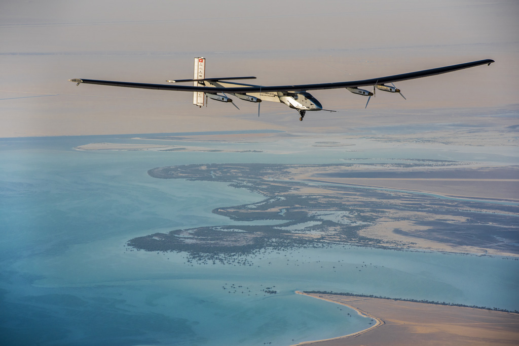 The Solar Impulse flying over Abu Dhabi (UAE). Bertrand Piccard and André Borschberg will take turns piloting the single-seater plane that is propelled solely by the sun.