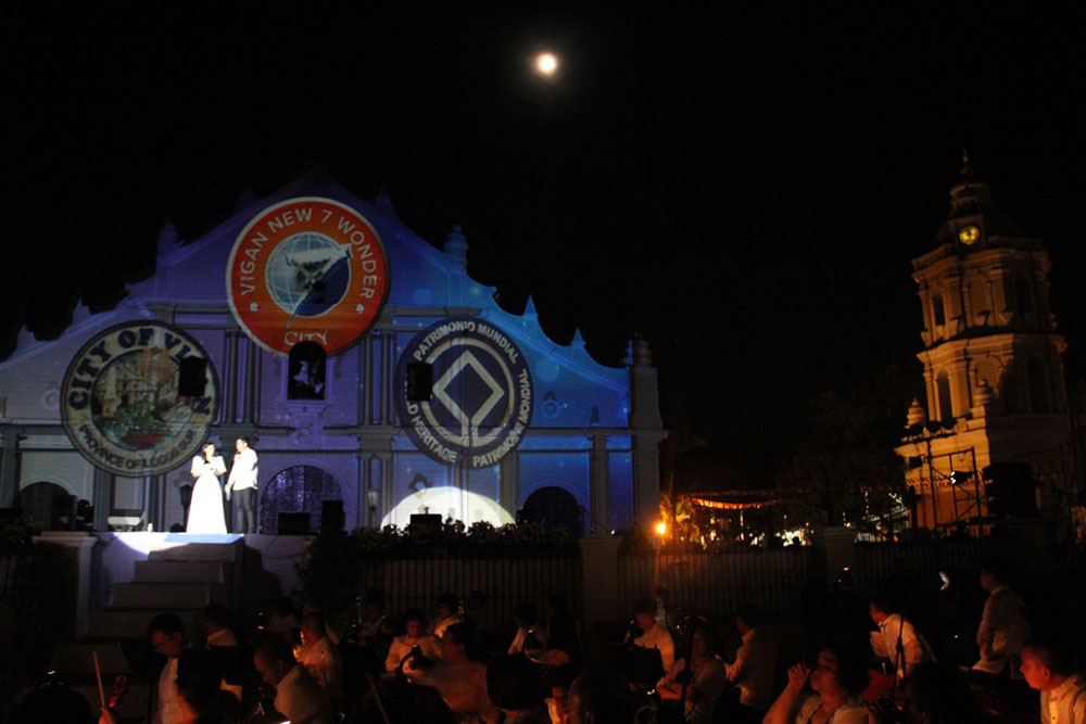 The Cathedral of St Paul in Vigan is adorned with the New7Wonders City logo for the inauguration event. The church was commissioned by Juan de Salcedo and built in 1574