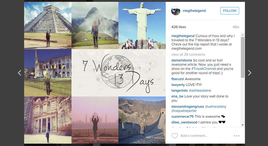Megan Sullivan's Instagram postings about visiting the New7Wonders of the World in 13 days after being diagnosed with skin cancer went viral.