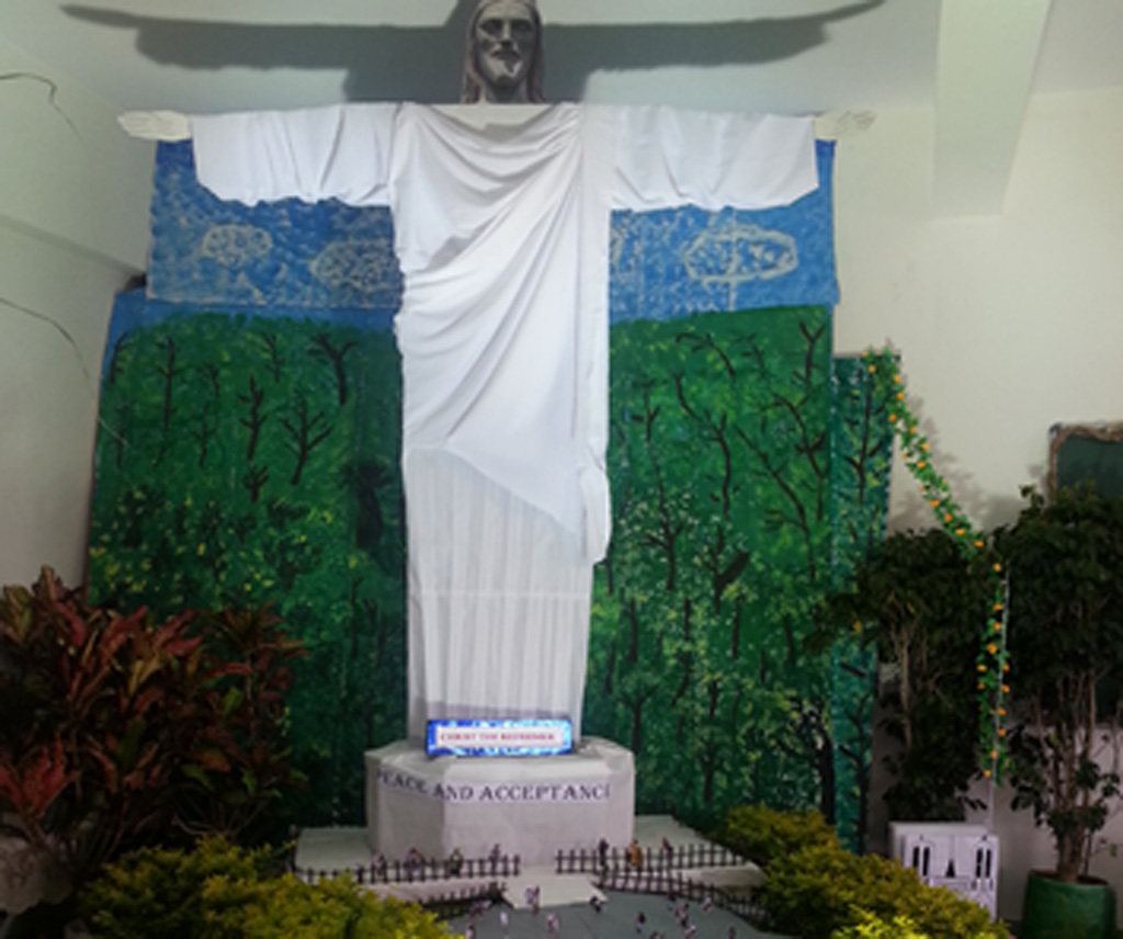 The replica statue of Christ Redeemer in Rio built by students of the National Hill View Public School in Bangalore.
