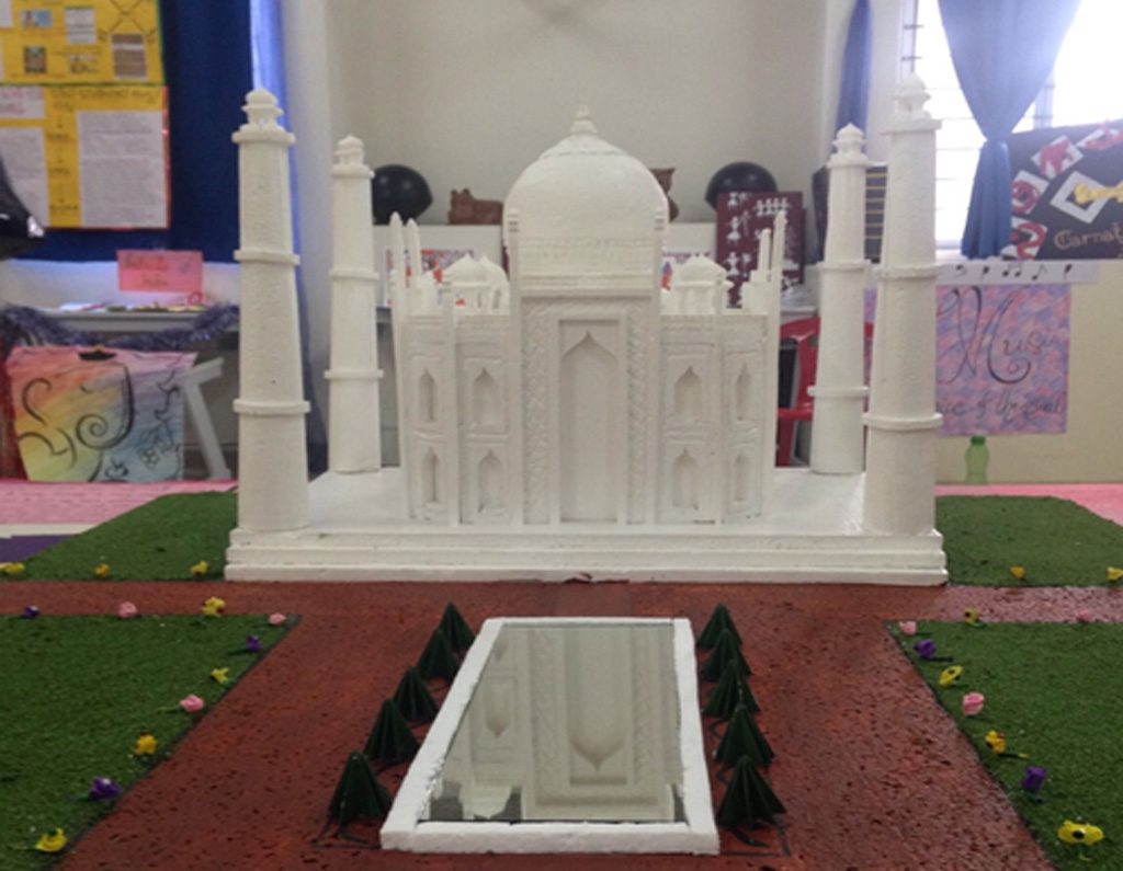 The Taj Mahal as created by by students of the National Hill View Public School in Bangalore in India