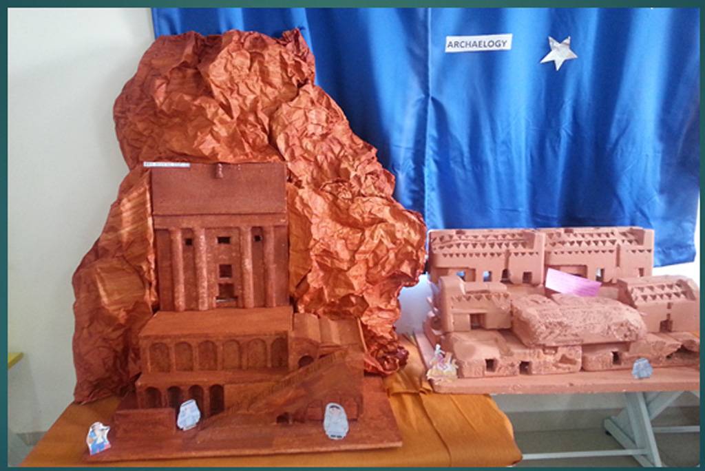The ancient city of Petra in Jordan as imagined and recreated by students of the National Hill View Public School in Bangalore